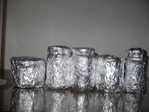 recouvrir les pots d'aluminium avant la stérilisation